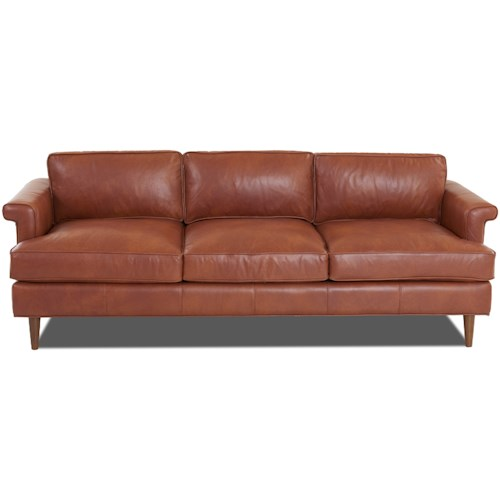 Klaussner Carson Mid-Century Modern Sofa with Exposed Wood Legs and L-Shaped Arms