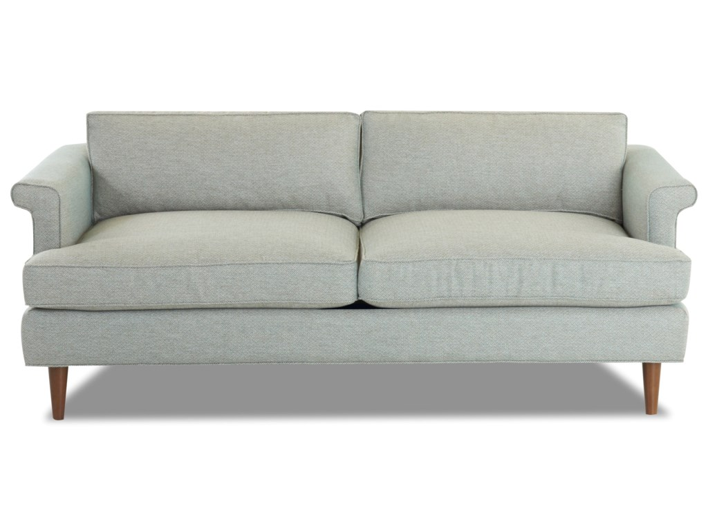 Carson Mid Century Modern Studio Sofa With Exposed Wood Legs And L Shaped Arms By Klaussner At Value City Furniture