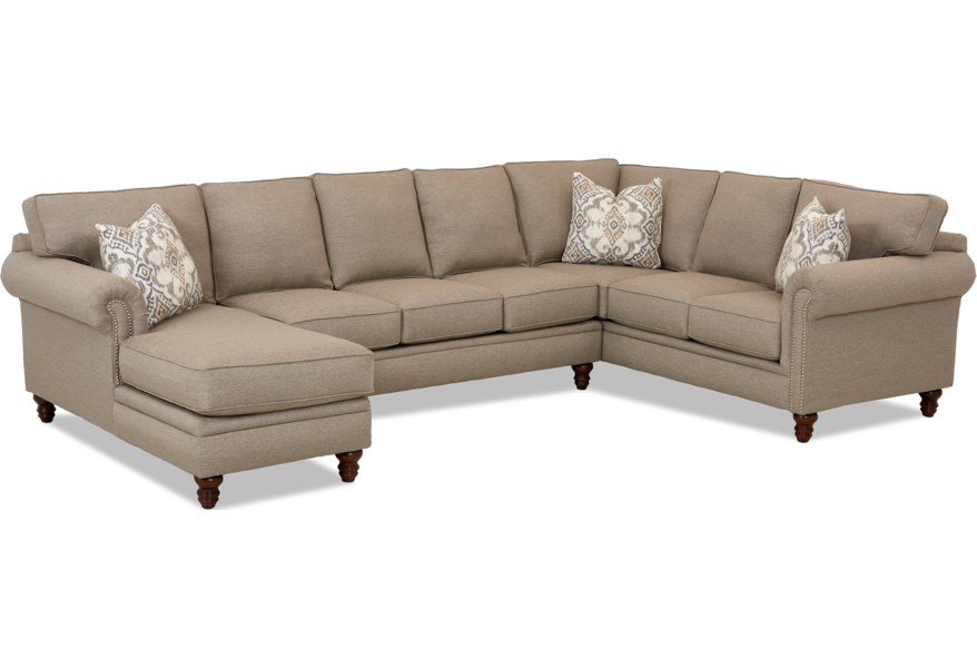 Klaussner Carter Three Piece Sectional Sofa w/ LAF Chaise ...