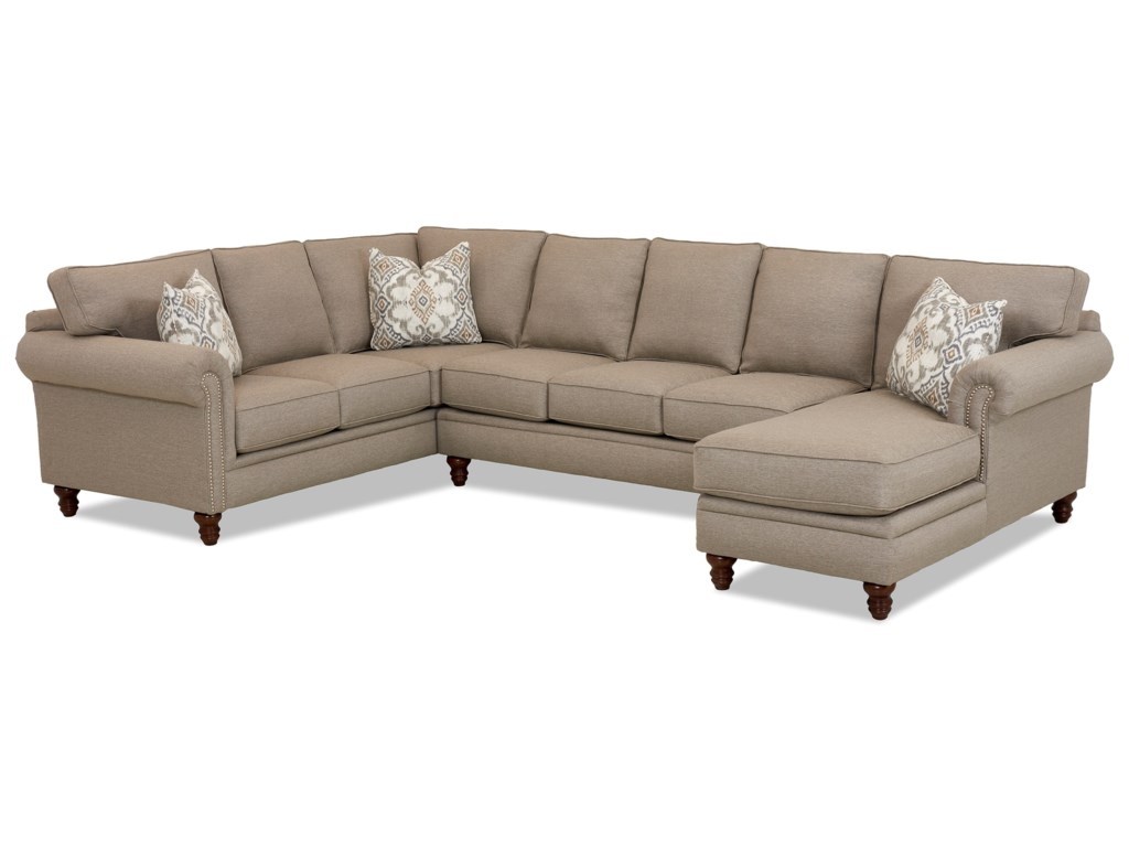 Elliston Place Carter Three Piece Sectional Sofa w/ RAF Chaise and ...