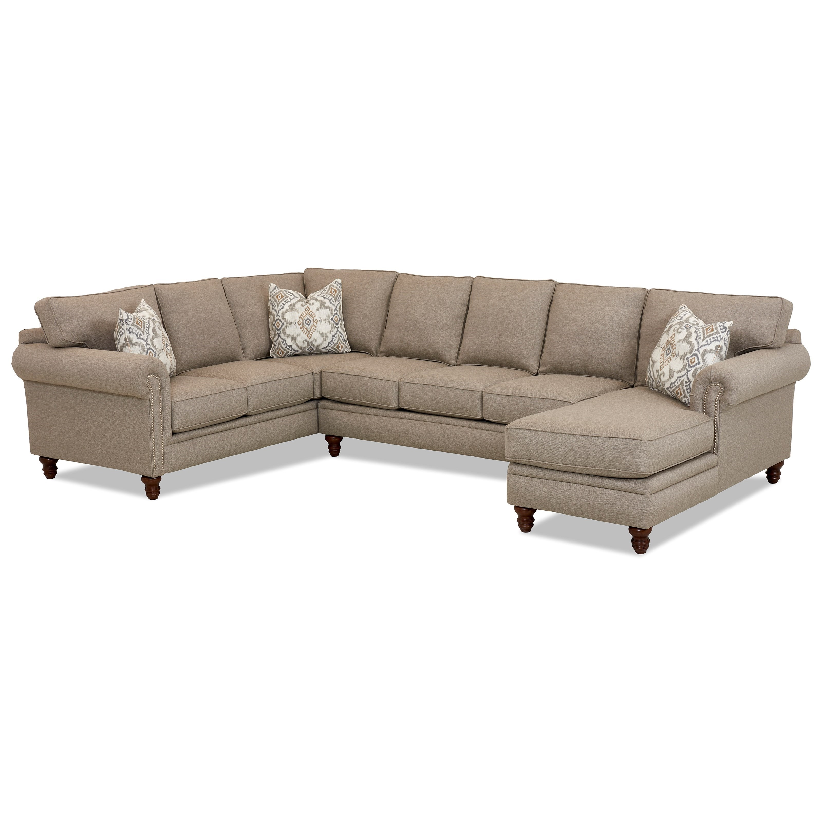 Klaussner Carter Three Piece Sectional Sofa W/ RAF Chaise And Nailhead Trim