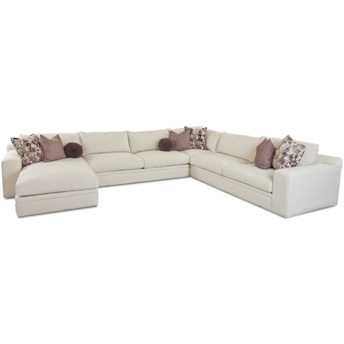 Klaussner Casa Mesa Casual Four Piece Sectional Sofa with LAF Chaise