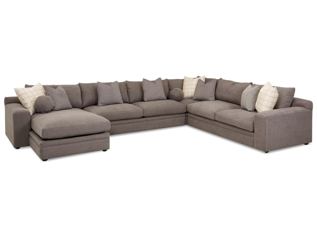 Casa Mesa Casual Four Piece Sectional Sofa with LAF Chaise by Klaussner at  Wayside Furniture