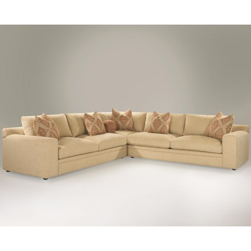 Klaussner Casa Mesa Casual 3-Piece Sectional Sofa with Track Arms and Loose Back Pillows