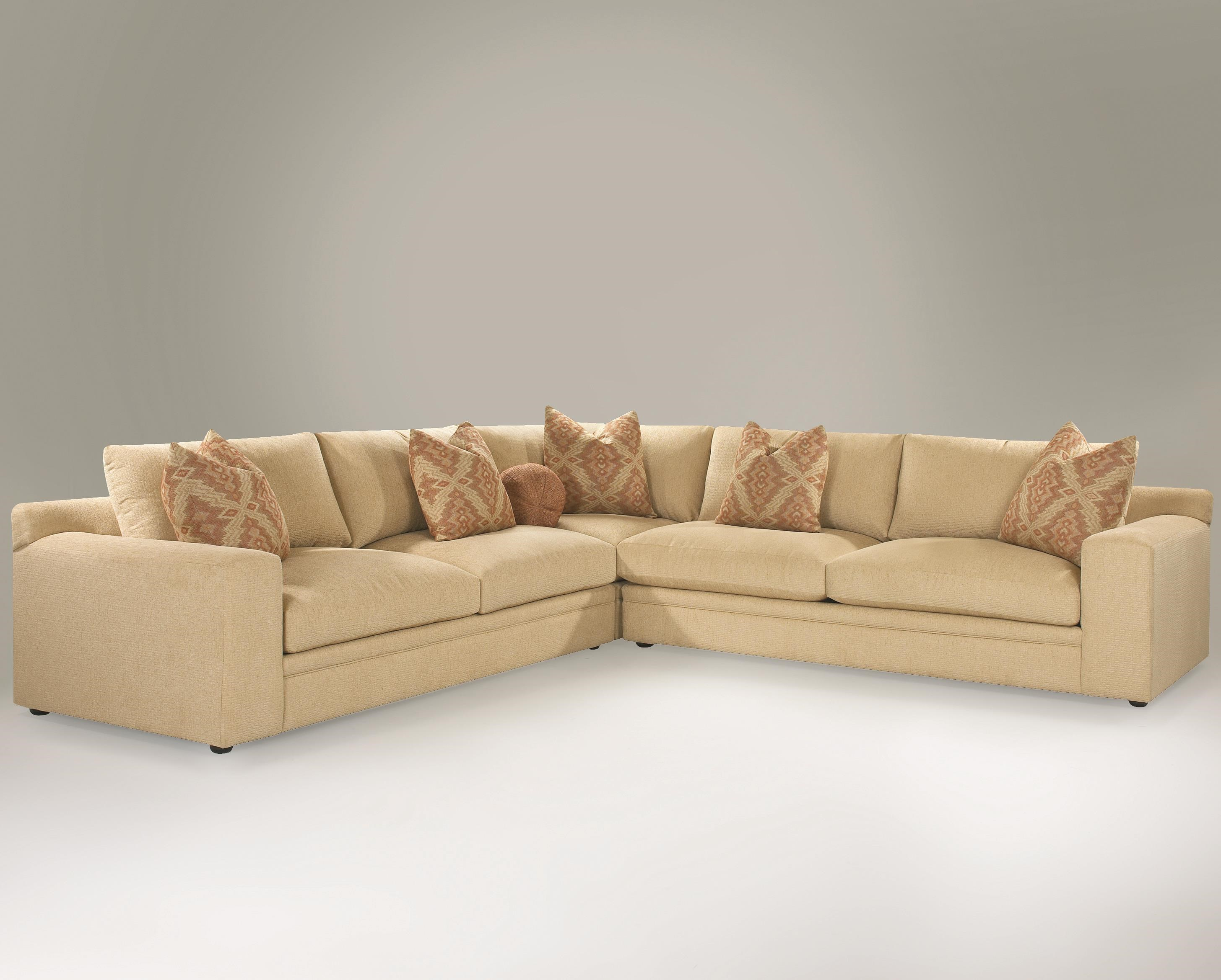 klaussner casa mesa casual 3piece sectional sofa with track arms and loose back pillows - 3 Piece Sectional Sofa