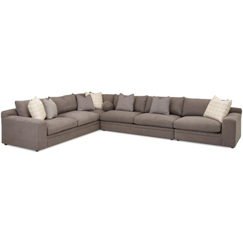 Klaussner Casa Mesa Casual Four Piece Sectional Sofa with RAF Chair