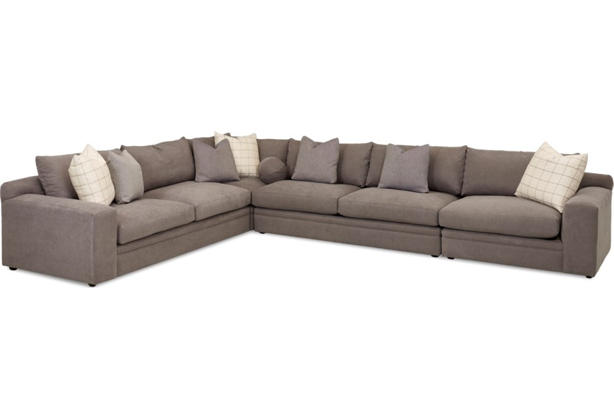 Casa Mesa Casual Four Piece Sectional Sofa with RAF Chair by Klaussner at  Dunk & Bright Furniture