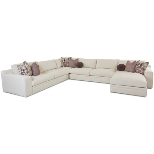 Klaussner Casa Mesa Casual Four Piece Sectional Sofa with RAF Chaise