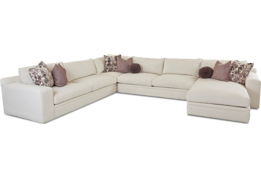 Klaussner Casa Mesa Casual Four Piece Sectional Sofa with ...
