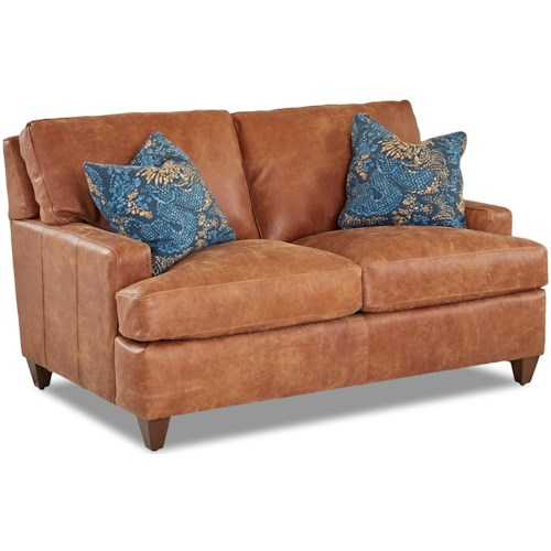 Klaussner Cassio Contemporary Leather Loveseat with Arm Pillows