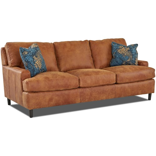 Klaussner Cassio Contemporary Leather Sofa with Arm Pillows