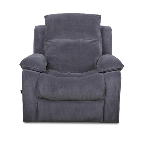 Klaussner Castaway Casual Reclining Rocking Chair with Bucket Seat and Pillow Arms