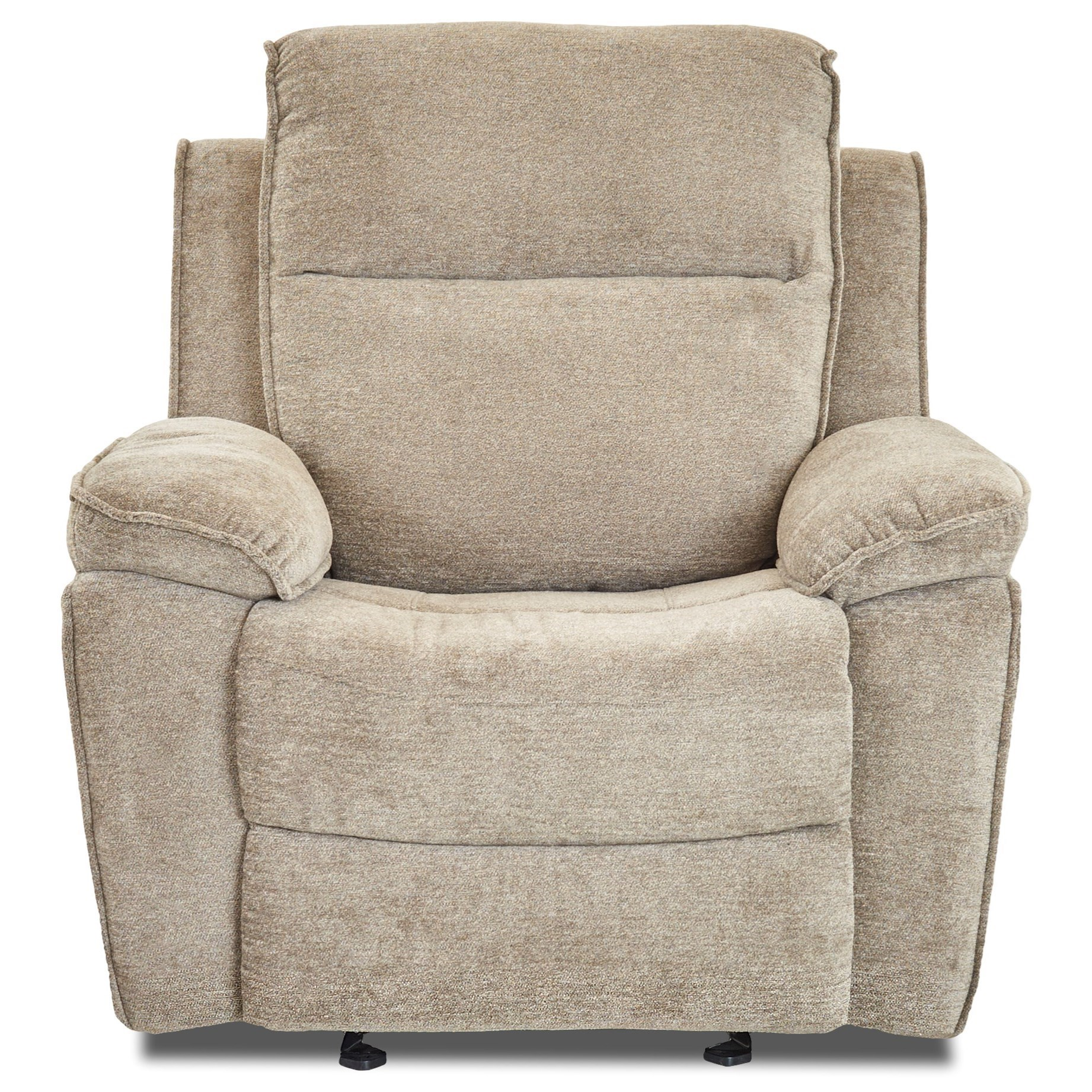 Casual Gliding Reclining Chair with Bucket Seat and Pillow Arms