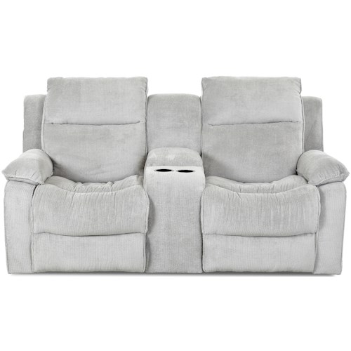 Klaussner Castaway Casual Power Reclining Loveseat with Console