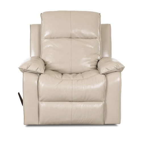 Klaussner Castaway Casual Gliding Reclining Chair with Bucket Seat and Pillow Arms