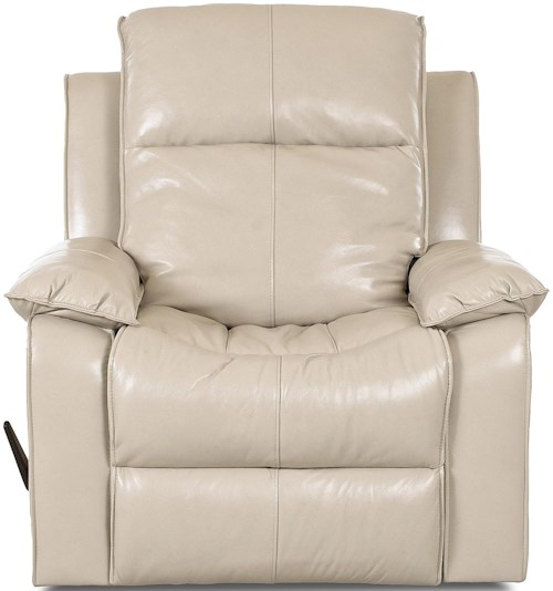 Klaussner Castaway Casual Reclining Chair with Bucket Seat and Pillow Arms