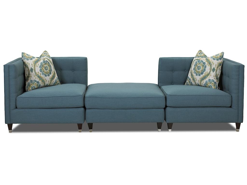 Klaussner CelesteContemporary Three Piece Sectional Sofa