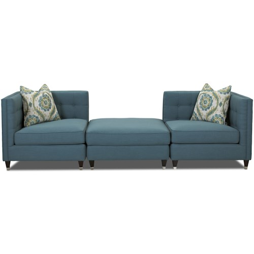 Klaussner Celeste Contemporary Three Piece Sectional Sofa with Tufting