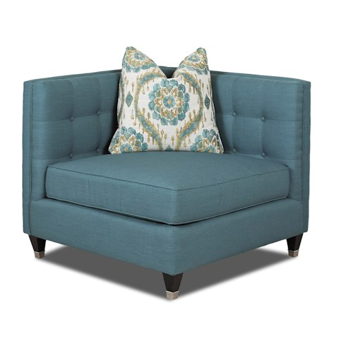 Klaussner Celeste Contemporary Corner Chair with Tufting