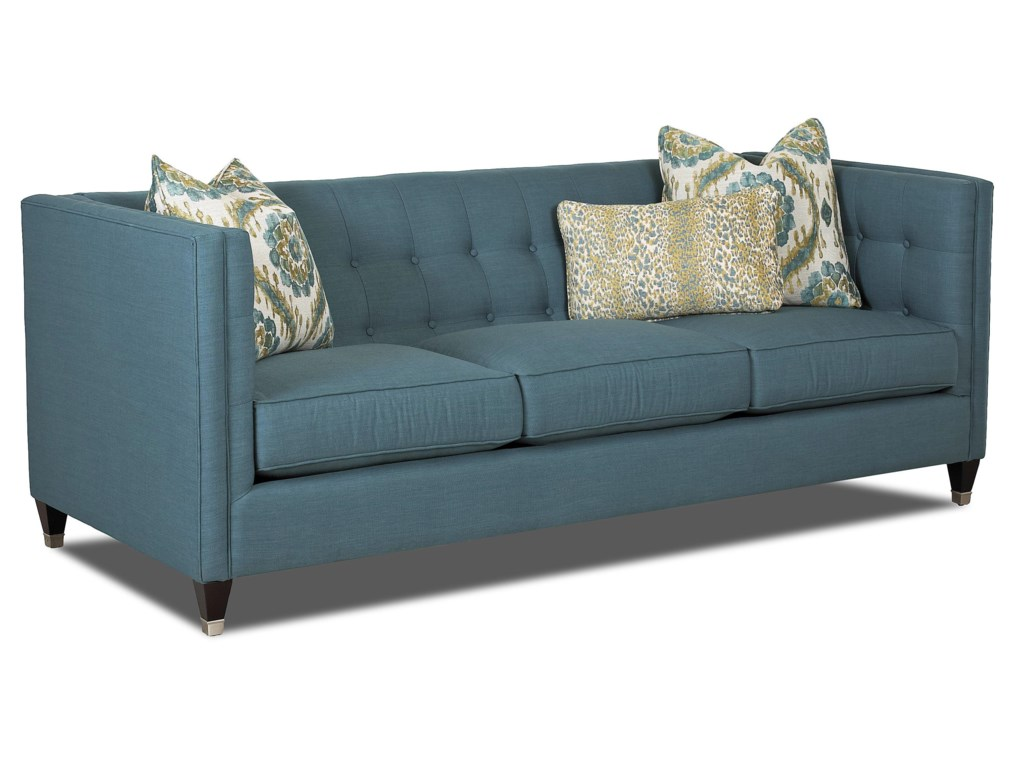 Celeste Contemporary Tuxedo Sofa with Tufted Back by Klaussner at Dunk &  Bright Furniture