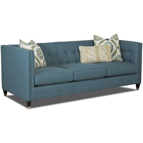Klaussner Celeste Contemporary Tuxedo Sofa with Tufted Back