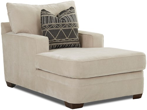 Klaussner Chadwick Casual Chaise Lounge with Square Track Arms