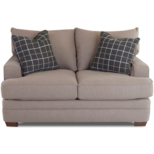 Klaussner Chadwick Casual Loveseat with Square Track Arms