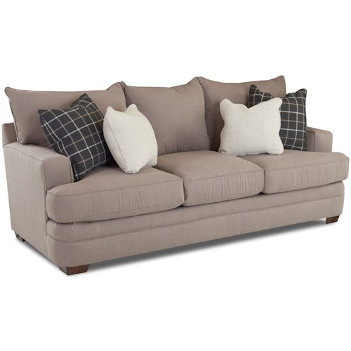 Klaussner Chadwick Casual Sofa With Square Track Arms Wayside Furniture Sofas