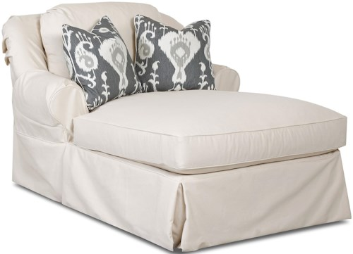 Klaussner Charleston Chaise Lounge with 2 Accent Pillows