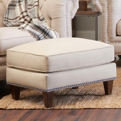 Klaussner Charlotte Traditional Ottoman with Tack Nails