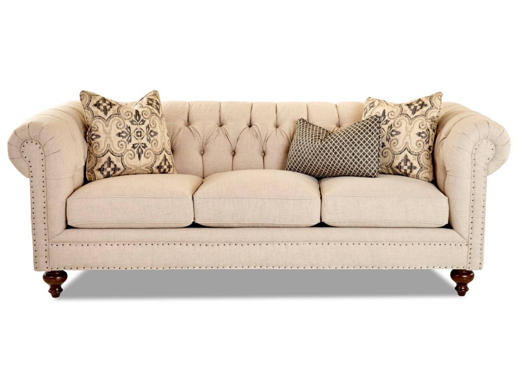 Klaussner Charlotte D93415 S Traditional Chesterfield Sofa With Tack