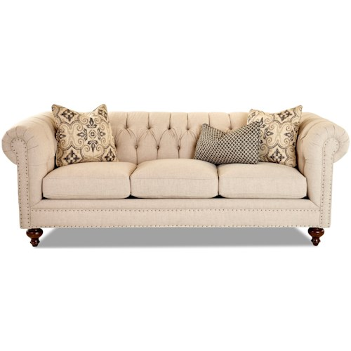 Klaussner Charlotte Traditional Chesterfield Sofa with Tack Nails