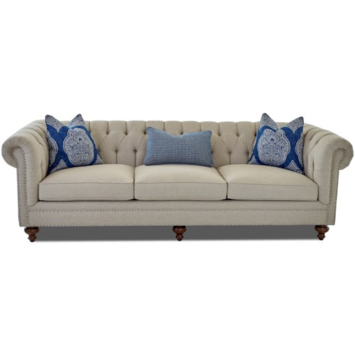 Klaussner Charlotte Traditional Extra Large Chesterfield Sofa with Tack Nails