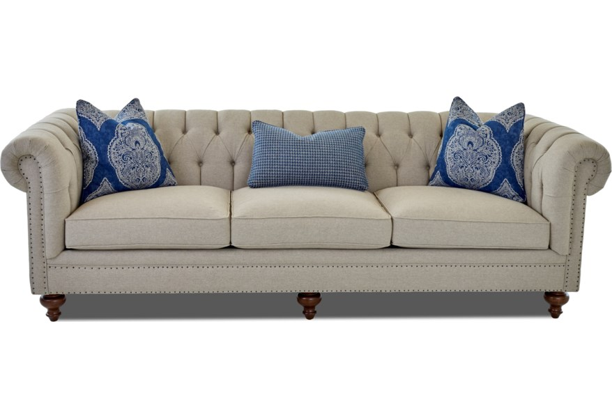 Charlotte Traditional Extra Large Chesterfield Sofa with Tack Nails by  Klaussner at EFO Furniture Outlet