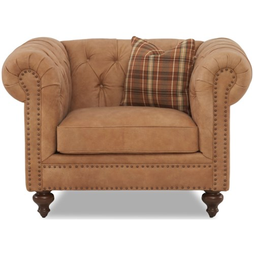 Klaussner Charlotte  Traditional Tufted Chair and 1/2 with Nailheads