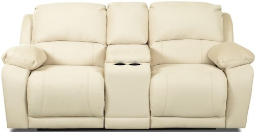 Klaussner Charmed Dual Unit Reclining Loveseat with Storage Console