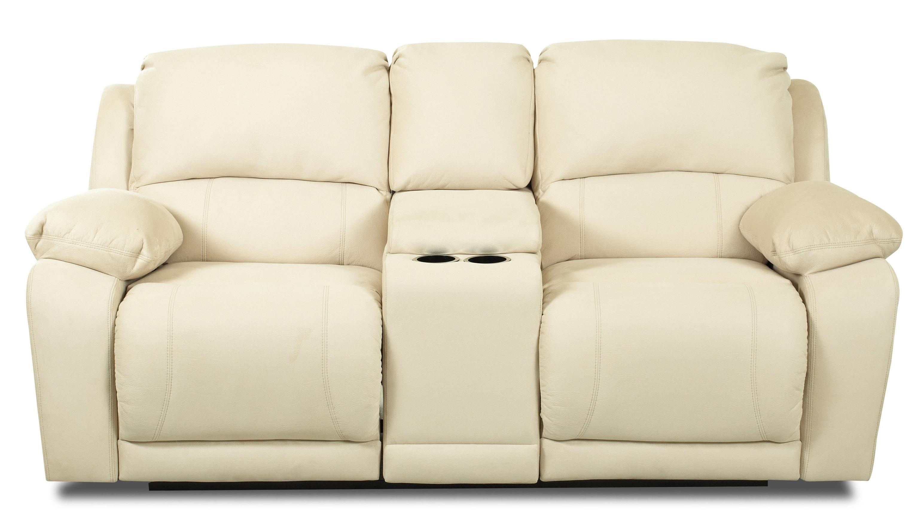 Superbe Klaussner CharmedConsole Reclining Loveseat ...