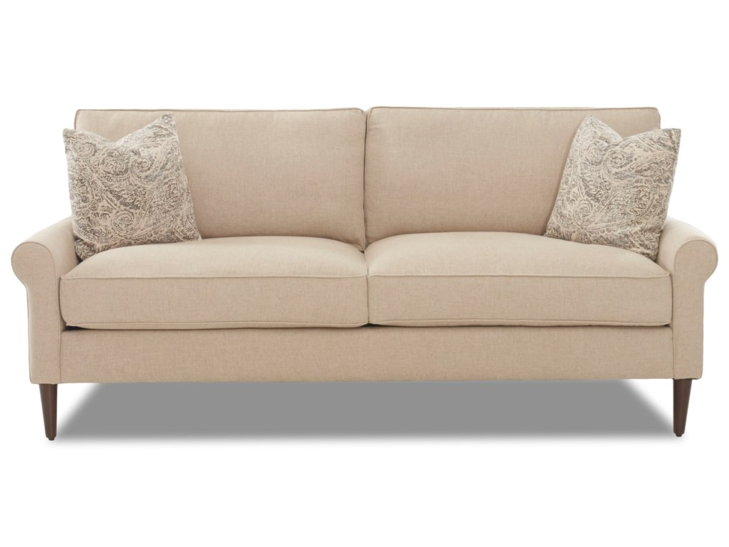 Chelsea Casual Contemporary Style 2 over 2 Sofa with Square Tapered Legs by  Klaussner at Northeast Factory Direct
