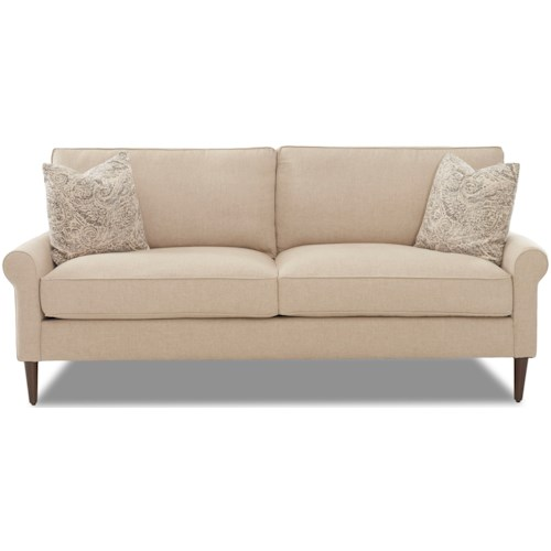 Klaussner Chelsea Casual Contemporary Style 2 over 2 Sofa with Square Tapered Legs