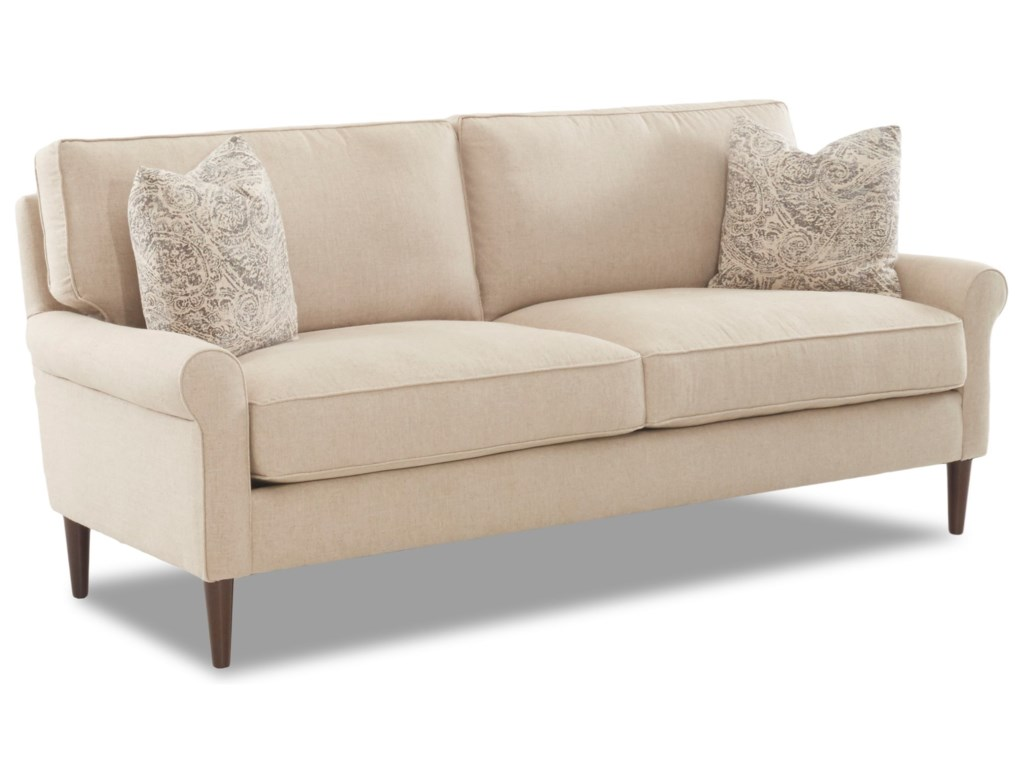 Klaussner Chelsea2 over 2 Sofa with Square Tapered Legs