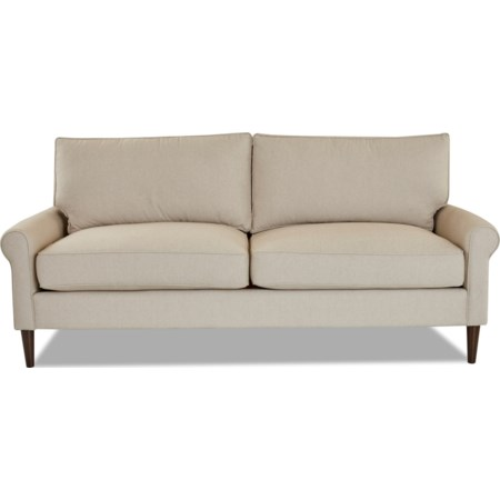 2 over 2 Sofa with Round Tapered Legs