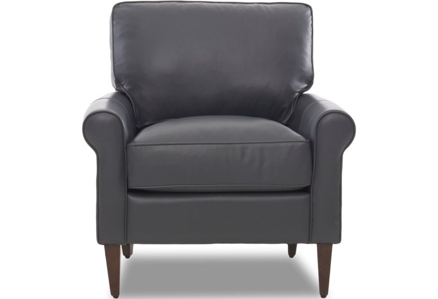 Chelsea Casual Contemporary Chair with Leather Upholstery and Square  Tapered Legs by Klaussner at Dunk & Bright Furniture
