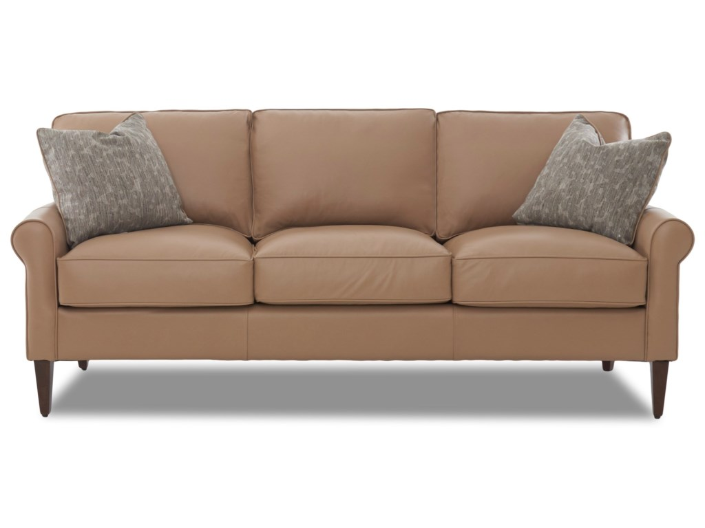 Klaussner Chelsea Casual Contemporary Sofa With Leather Upholstery And Square Tapered Legs Value City Furniture Sofas