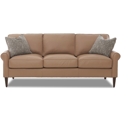 Klaussner Chelsea Casual Contemporary Sofa with Leather Upholstery and Square Tapered Legs