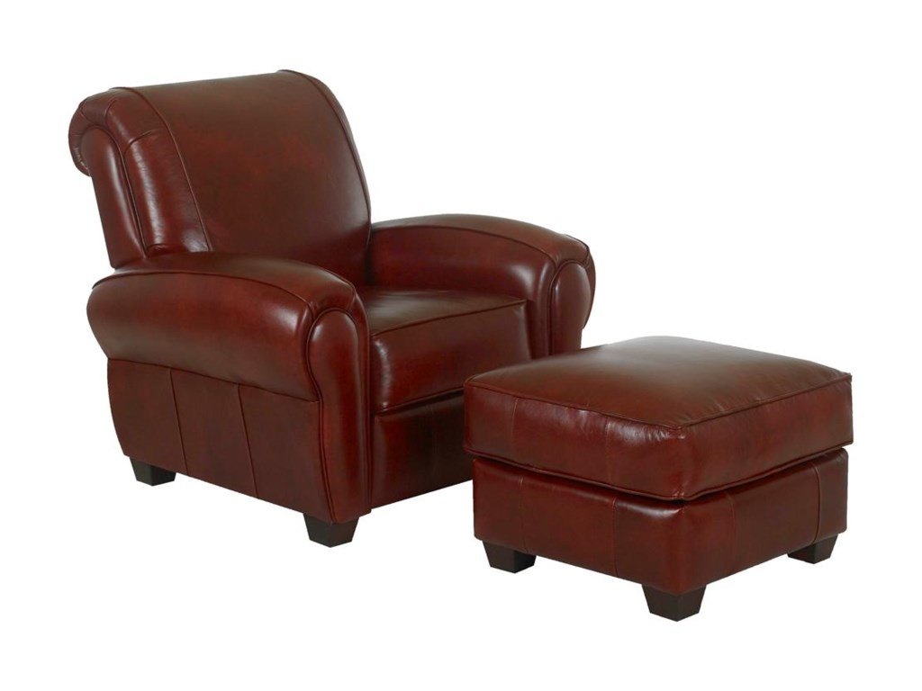 Klaussner CigarUpholstered Chair and Ottoman