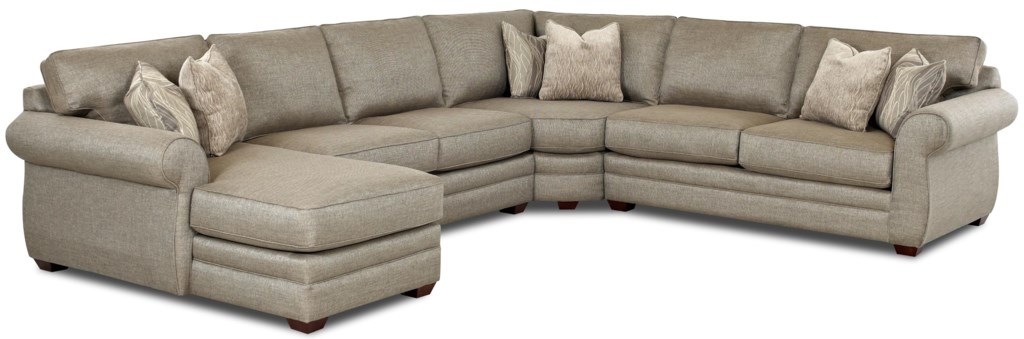 Klaussner Clanton Transitional Sectional Sofa With Left Chaise And
