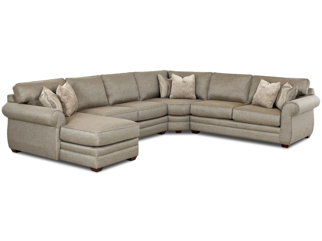 Klaussner Clanton Transitional Sectional Sofa with Left Chaise and ...