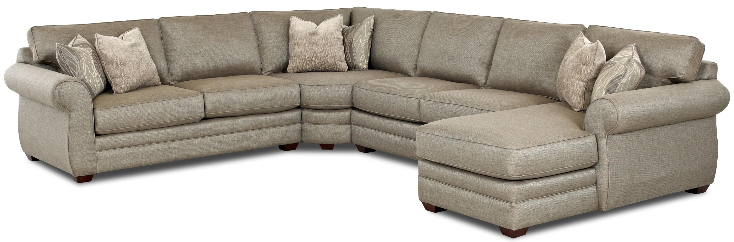 Transitional Sectional Sofa with Right Chaise and Full Sleeper
