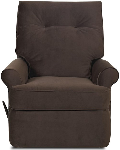 Klaussner Clearwater Transitional Reclining Chair with Rolled Arms and Welted Trim