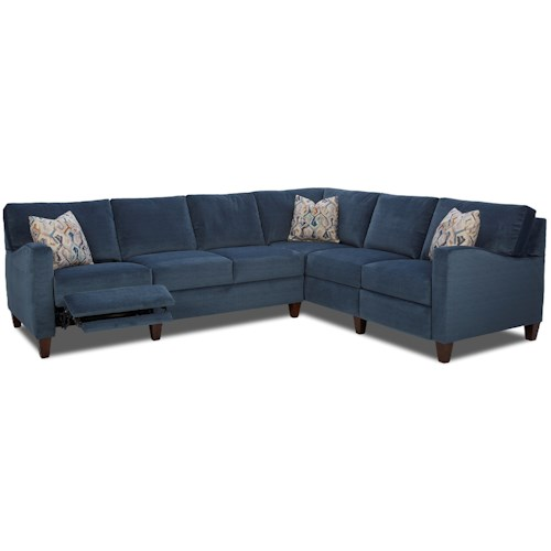 Klaussner Colleen Hybrid Reclining Sectional With Raf Corner Sofa J J Furniture Reclining